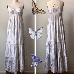Mossimo cream silver lace maxi dress. Size M